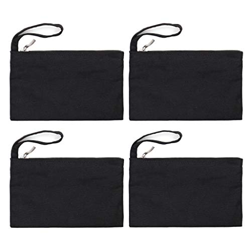 Yingkor Cotton Canvas Multi-purpose Zipper Cosmetic Makeup Pouch Coin Purse Cellphone Purse Pen Pencil Station Case Bag with Cotton Lining Pack-4 (Black)