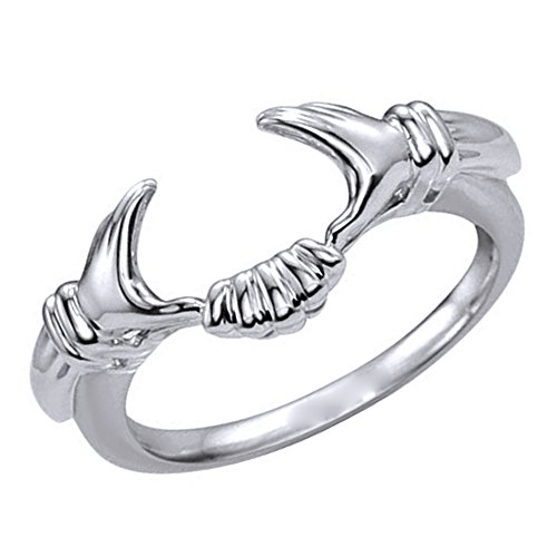 Silvercz Jewels Vintage Style Claddagh Celtic Style Ring Guard Wrap In 14K White Gold Plated