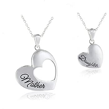 Amazon mother daughter jewelry silver tone heart pendant 2 majesto 18k white gold plated mother daughter two piece silver heart necklace pendant for women and teen girls aloadofball Images