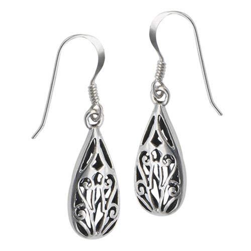 Filigree Teardrop Fancy .925 Sterling Silver Ornate Cutout Bold Dangle Earrings