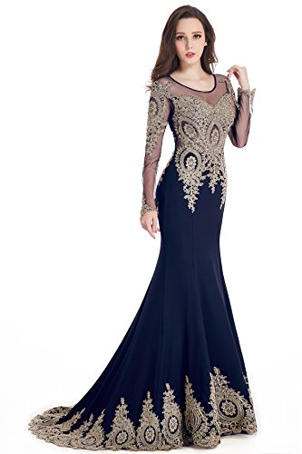 Sparkly Crystals Gold Applique Mermaid Prom Evening Dresses Navy Blue, US2
