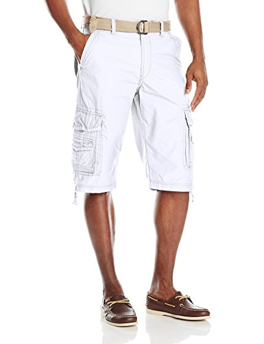 Unionbay Men's Cordova Belted Cargo Short Messenger -  34 - White (White Cargo Shorts)