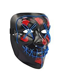HDE LED Costume Mask EL Wire Light Up Halloween Masks Multifunction Flash and Glow for Rave, Festival, Cosplay