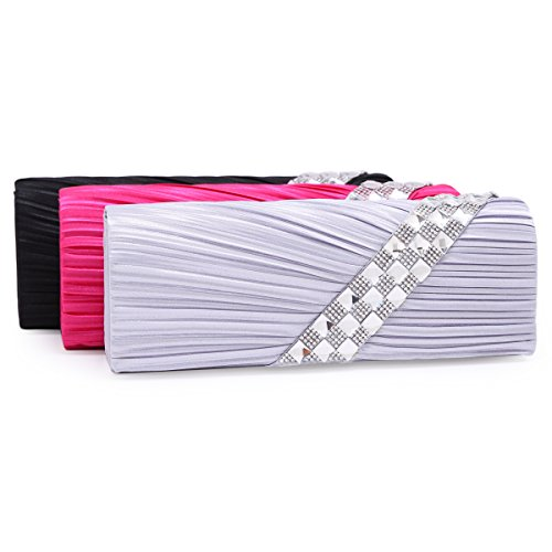 Oblicua Damara con pliegue de satén Funda de diseño de piel de cadena muy resistente, color negro, talla large rosa - rosa