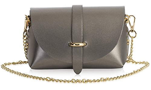 CORIN Genuine LIATALIA Leather Pewter Shoulder Clutch Handbag Party Metallic Mini Purse Womens Small qwT6vCw