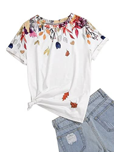 Epuyaito Women Novelty Floral Graphic Print Pullover Short Sleeve Crew Neck Casual Tee White