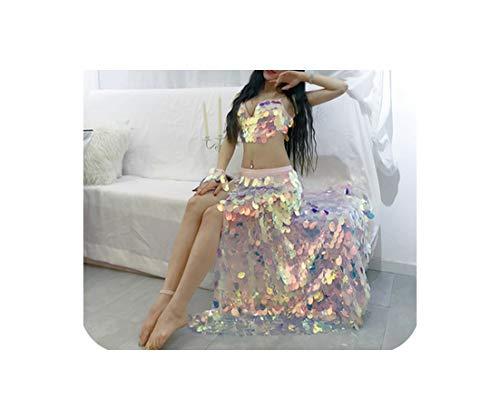 Dance Clothes Sexy Big Sequins Bra+Long Skirt 2Pcs for Gilrs Dance Clothing S,M,L,Bra Top,S