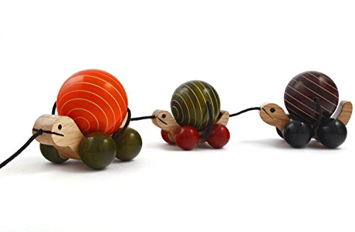 Channapatna Handcrafted Wooden Toy : POMPOM RAIL - Wooden Pull toy for 18 months (+) Baby |Handmade|