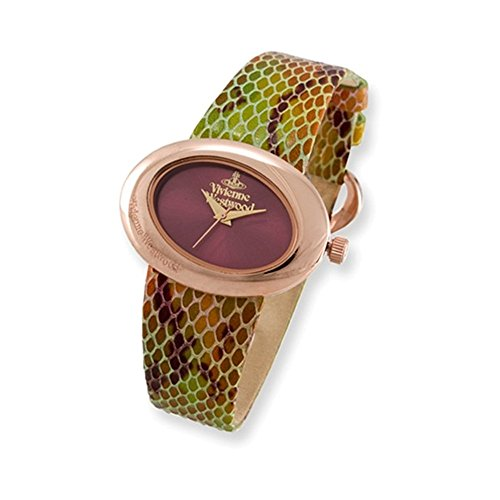 Ladies Vivienne Westwood Ellipse Rose-plated Snake Pattern Watch