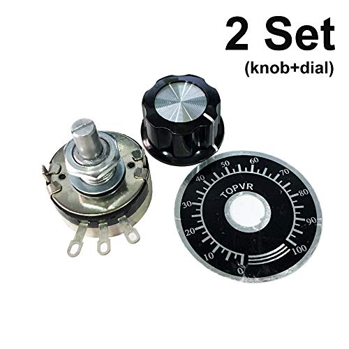 PoiLee 2Pcs WTH118-2W Single Turn Carbon Rotary Linear Taper Potentiometer 10K ohm with Dial with Knob (B103 10K)