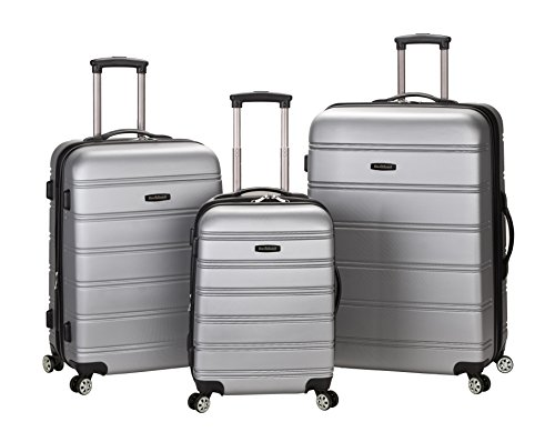 Rockland Luggage Melbourne 3 Piece Abs Luggage Set, Silver, (Upright Silver Hardside Luggage)