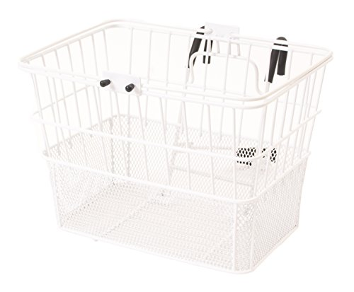 (Retrospec Bicycles Detachable Steel Half-Mesh Apollo Bike Basket with Handles, Glossy White )
