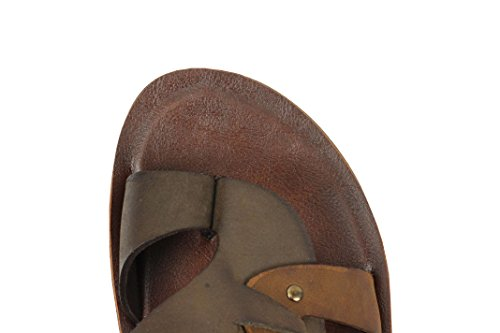 Mens Real Leather Sandals Coffee Brown Slip on Summer Beach Holiday Strapped Slippers Coffee-brown 3k0T6pzWdS