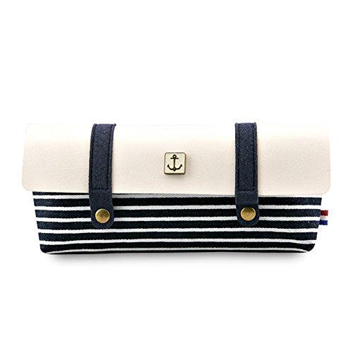fablcrew Bleistift Pouch Bag Halter Retro Navy Streifen Leinwandbild Pen Bag Kosmetik Make-up-Tasche 8.5*18 CM blau schwarz
