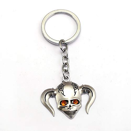 Mct12 - Bleach Keychain Kurosaki Ichigo Hollow Mask Logo Death Skull Silver Enamel Keyring Key Holder Chain Ring Anime Jewelry
