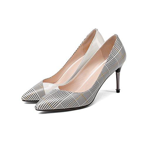 AJUNR Moda/elegante/Transpirable/Sandalias Zapatos de mujer Puntiaguda Tacon fino Poca boca Solo los zapatos White 9cm zapatos de tacon alto Treinta y nueve 34