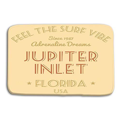 (Xunulyn Kitchen Floor Bath Entrance Door Mats Rug Florida Surfing Design Fashion Vacation Typography Jupiter Inlet USA Non Slip Bathroom Mats 23.6