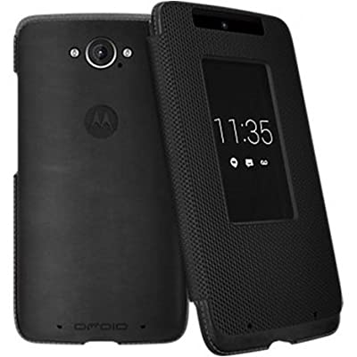 Motorola Flip Case for Motorola DROID Turbo XT1254 - Black Leather and Ballistic Nylon by Motorola