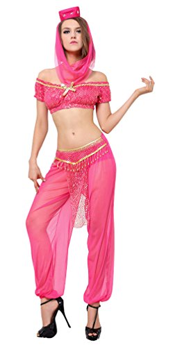 [Kimring Women's Shimmer Sequin Genie Srtapless Short Sleeves Belly Dance Crop Top and Pants Set Outfit Rose] (Genie Outfit)