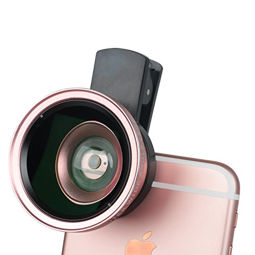 Leeko Professional HD Mobile Camera Lens Kit 0.45X Super Wide Angle Lens + 12.5X Macro Lens,2 in 1 Clip On Cell Phone Lens for iPhone 6s / 6 Plus / 5s, Samsung Galaxy and Most Smartphones (Rose Gold) (No Type Yout compare prices)