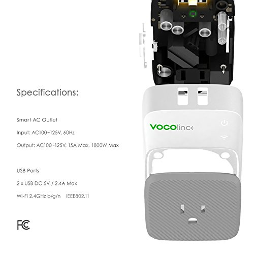 VOCOlinc PM3 Smart Plug Outlet with 2 USB Charging Ports, Energy Monitoring, Adjustable Night Light, Works with Apple HomeKit, Alexa and Google Assistant, No hub required, Wi-Fi 2.4GHz by VOCOlinc (Image #1)