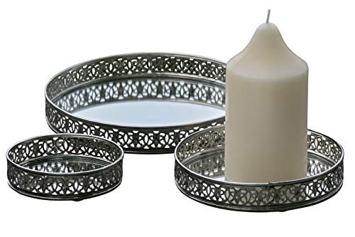 (WHW Whole House Worlds Farmers Market Table Top Candle Trays, Set of 3, Iron Lattice Edges, Inset Mirror Floor, 8, 6, 4 Inches Diameter, Padded Bottoms)