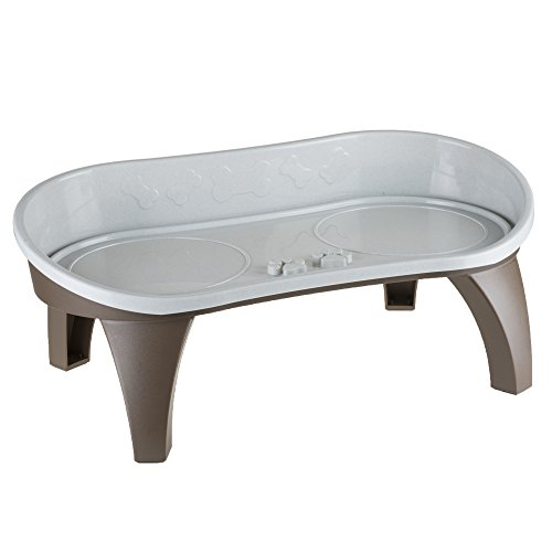 Elevated Pet Feeding Tray with splash guard and non-skid feet 21in x 11in x 8.5in by PETMAKER ()