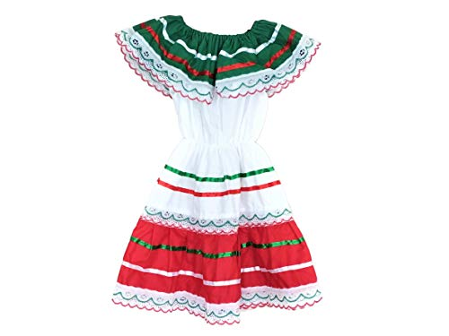 Mexican Flag Dress - Traditional Days - Typical Mexican Costumes for Girl Made by Hands Mexican Artisans (4, Tricolor)