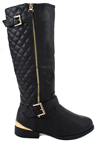 Land Black Gold Decorative Zipper Buckle Strap Quilted Riding Knee High (Black And Gold Boots)
