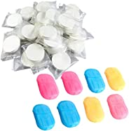 28Pack Compressed Towels and Portable Soap Paper Flakes, Soft Compressde Wipe and Disposable Soap Papers for P