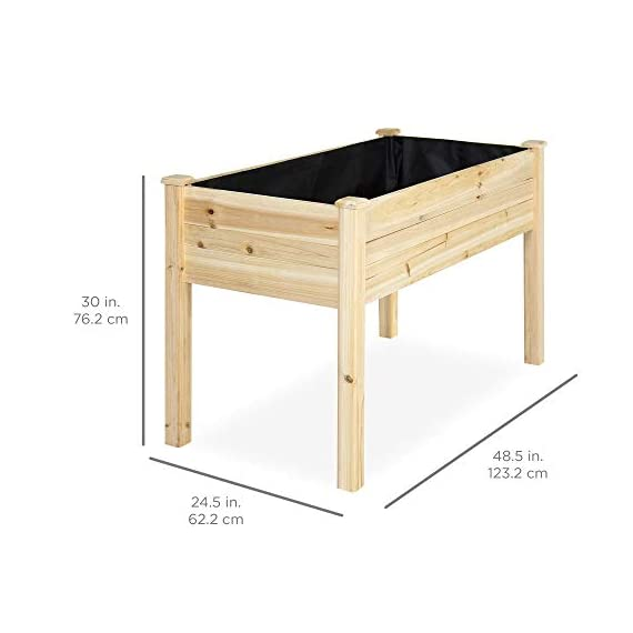 Best Choice Products 46x22x30in Raised Wood Planter Garden Bed Box Stand for Backyard, Patio - Natural 7 SPACIOUS GARDENING BED: Designed with a nearly-4-foot-long bed deep enough to ensure your plants and vegetables can breathe and grow healthy DURABLE COMPOSITION: Made of 0.75-inch-thick, weather-resistant Cedar wood, this bed is built to last through the seasons ERGONOMIC STRUCTURE: Stands 30 inches tall, making it perfect for those who struggle to bend down or lean over while gardening