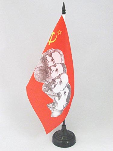 AZ FLAG Drapeau DE Table URSS 4 Personnages 21x14cm - Petit Drapeaux DE Bureau Communiste - Russie 14 x 21 cm