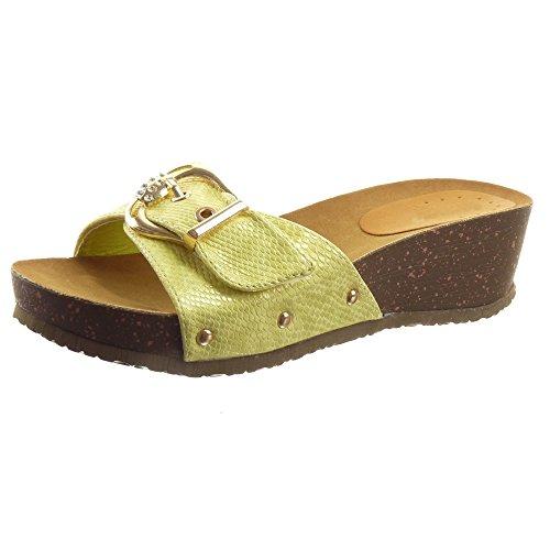 Offen Gelb Mode metallisch Sandalen damen Schlangenhaut gl盲nzende Schuhe Sopily wZBI8qn