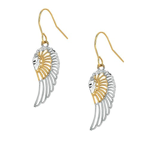 10k Yellow White Gold Fancy Filigree Wing Earrings With Euro Wire Clasp - Wire Euro
