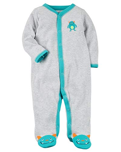 Carter's Baby Boys' Baby Boys Striped Snap up Monster Cotton Sleep and Play 6 Months]()