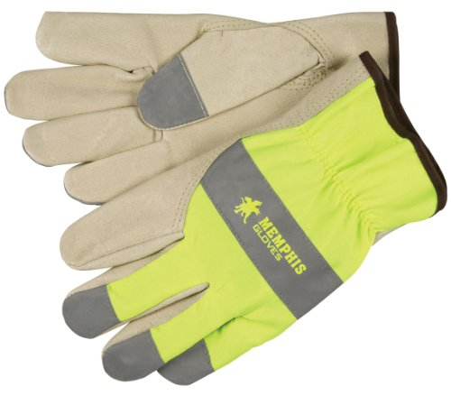 MCR Safety 3407M Grain Pigskin Driver Select Grade Gloves with Keystone Thumb and Silver Fingertips, Cream/Lime, Medium, 1-Pair