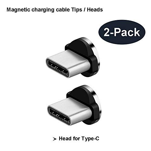 TAiKOOL Magnetic Phone Cable Connector Tips Head for USB Type C All Phone Pad Tablet Devices. 360° Round Strong Magnetic Max 2.4A Fast Charging. (TypeC Port connectors) -