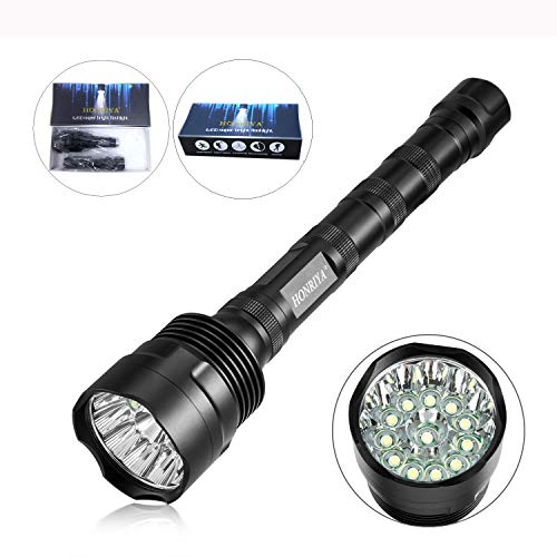 Led Beam Torch (Super Bright Led Flashlight,HONRIYA Excellent Beam 1500~12000 High Lumens Tactical Flashlight,12 Cree XML-T6 Waterproof Flashlight,IP65 Led Torch Light for Home and Outdoor)