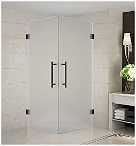 """Aston SEN989F-ORB-36-10 Vanora Completely Frameless Dual-Door Square Shower Enclosure with Frosted Glass in Oil Rubbed Bronze, 36"""" x 36"""" x 72"""""""