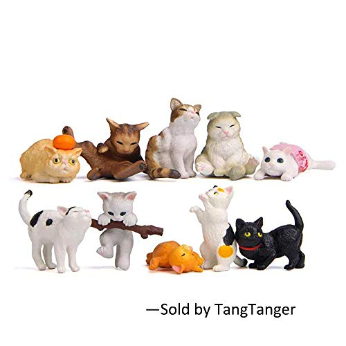 TangTanger 10 pcs (1 set) Kawaii Animal Cat Characters Toys Mini Figure Collection Playset, Cake Topper, Plant, Automobile ()