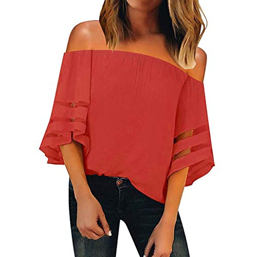 Sunhusing Women's Sexy Elastic Frilled Cold-Shoulder Solid Color Cropped Sleeve Flare Sleeve T-Shirt ()