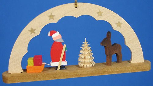 (Richard Glaesser Wooden Arch Ornament Santa Made in Germany )