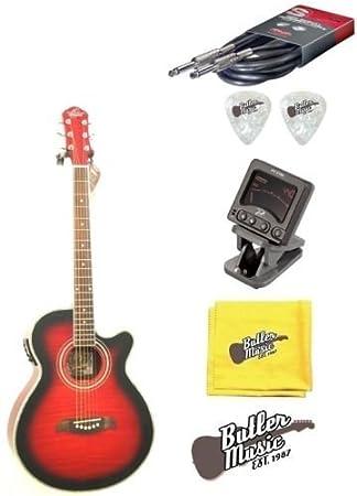 Oscar Schmidt og10ceftr llama transparente rojo acústica guitarra eléctrica w/púas, cuerdas y más: Amazon.es: Instrumentos musicales
