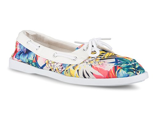 Twisted Women's Bonnie Faux Leather Trim Boat Shoe Tropical Floral