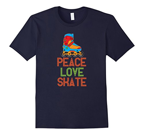 Mens Peace Love Skate Roller Skating 1980s Retro Eighties T-Shirt Medium Navy