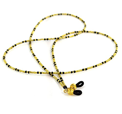Black and Gold Eyeglass Chain Fancy Beaded Lanyard Glasses Accessory