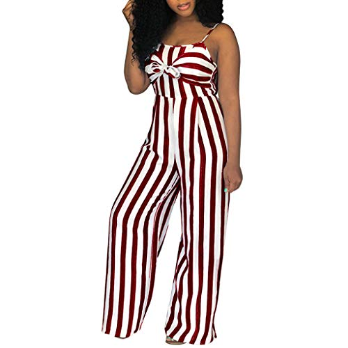 Yucode Women Jumpsuit Rompers,Sexy Backless Camisole Striped Bow Elastic Waist Loog Wide Leg Casual Jumpsuit Red ()