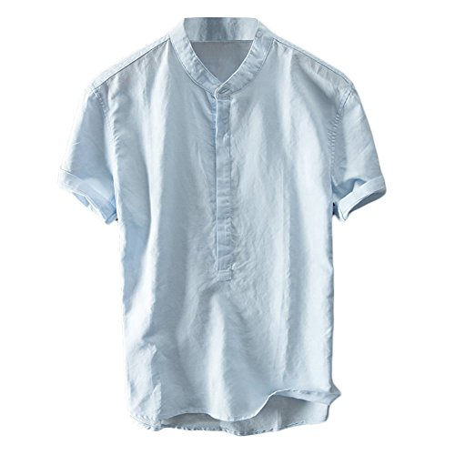 Mens Linen Henley Shirts Short Sleeve Beach Casual Summer Tops Banded Collar Plain Light T Shirt