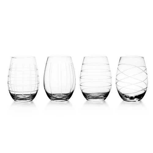 Fifth Avenue Crystal Medallion Stemless Wine Goblets, Set of 4
