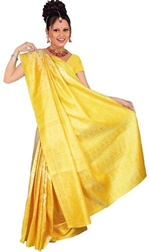 Fatto ferita Bollywood Sari India giallo Mis, M-L
